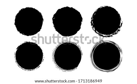 Set of circles in grunge style Grunge Vector Circle Grunge Round Shape Grunge Brush Stroke black color isolated on white background Illustration Vector