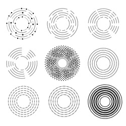 Set of circles in variety styles, circular lines, Vector illustration