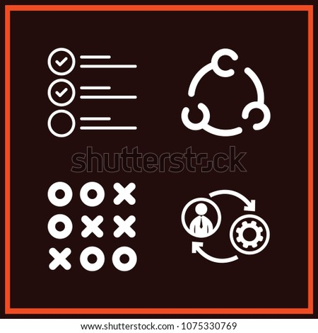 Set of 4 circles outline icons such as tic tac toe, man machine circuit symbol, task