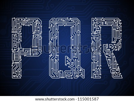 Set of Circuit board style letters