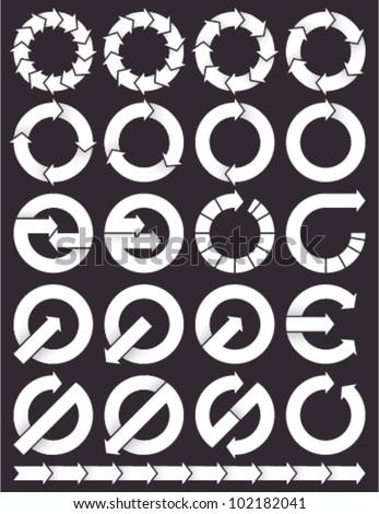 Set of circular arrows icons logos.