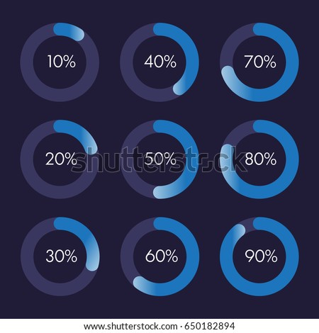 Set of circular progress bar icons vector. Collection of nine elements. Timer icon with ten percent interval in modern style. Good for download display. Background with flat element, indicator