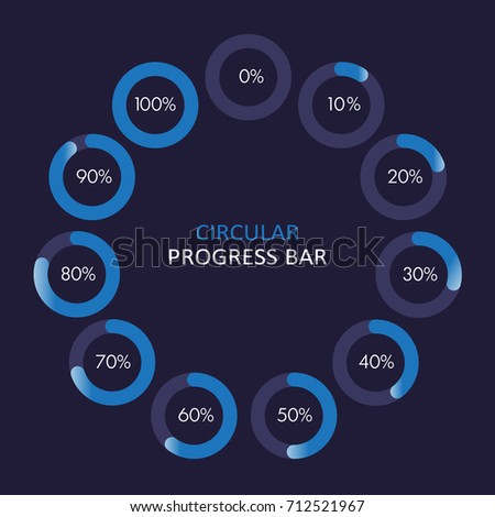 Set of circular progress bar icons vector. Collection of nine elements. Timer icon with ten percent interval in modern style. Good for download display. Background with flat element, indicator, web