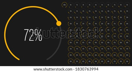 Set of circular sector arc percentage diagrams meters from 0 to 100 ready-to-use for web design, user interface UI or infographic - indicator with yellow Foto stock ©