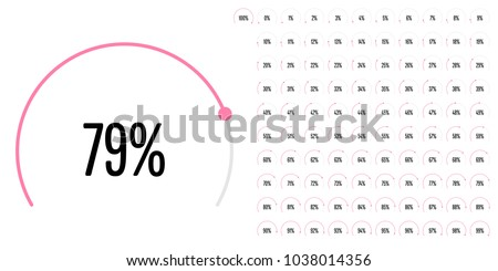 Set of circular sector percentage diagrams from 0 to 100 ready-to-use for web design, user interface (UI) or infographic - indicator with pink