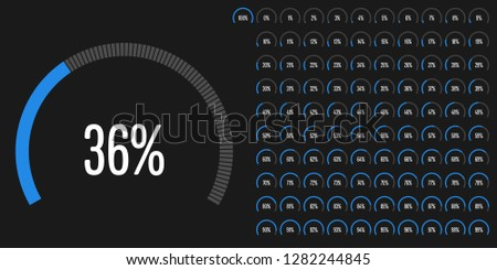 Set of circular sector percentage diagrams (meters) from 0 to 100 ready-to-use for web design, user interface (UI) or infographic - indicator with blue