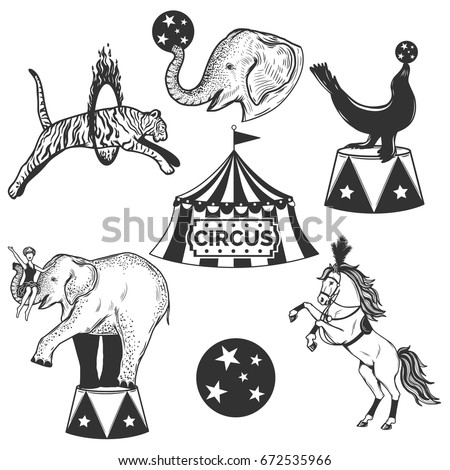set of circus elements.vintage...