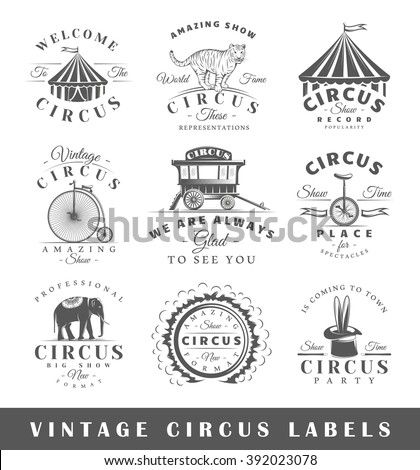 set of circus labels. elements...