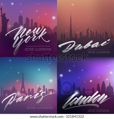 set of cities silhouette city