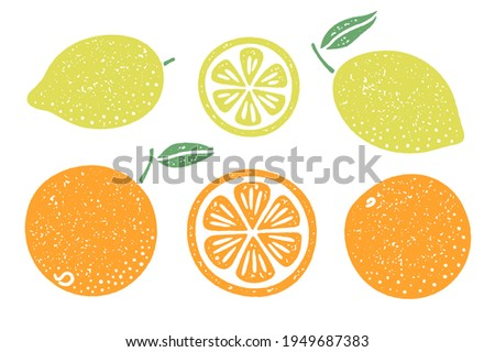 Set of citrus fruit illustrations. Lemons and oranges with a grainy texture. Slices and whole fruits with stem and leaf.
