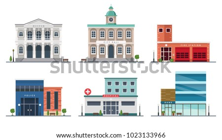 Set of city buildings - city hall, museum, police station, fire station, hospital, bank, Vector illustration in flat style, design template