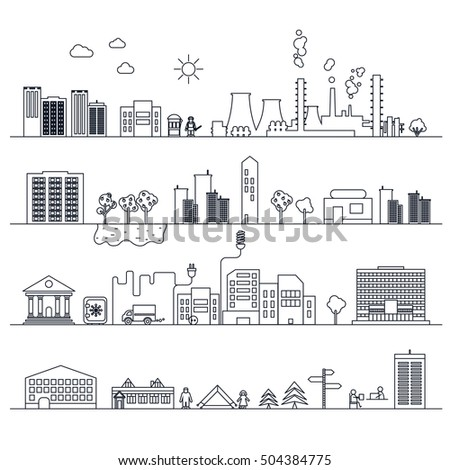 Set of city flat icons in line art, urban landscape. Vector. Black on white.