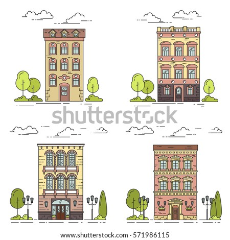 set of city landscapes with