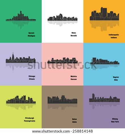 Set of 9 City silhouette (Detroit, Reno, Chicago, Wichita, Pittsburgh, Boise, Albany, Dayton, Indianapolis)