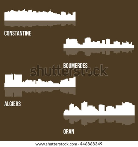 set of 4 city silhouette in