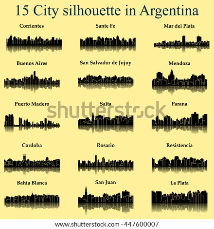 set of 15 city silhouette in