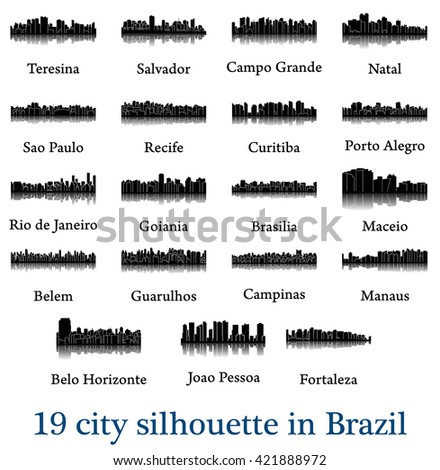 set of 19 city silhouette in