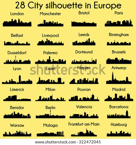 set of 28 city silhouette in