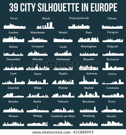 set of 39 city silhouette in