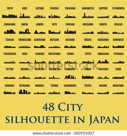 set of 48 city silhouette in
