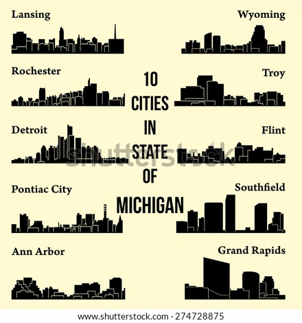 set of 10 city silhouette in