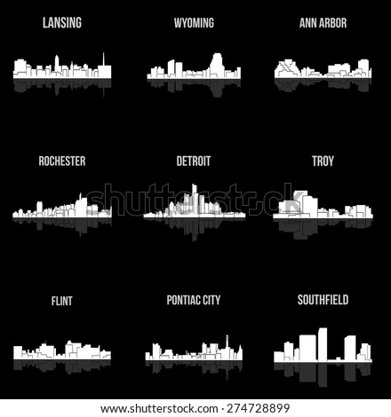 set of 9 city silhouette in