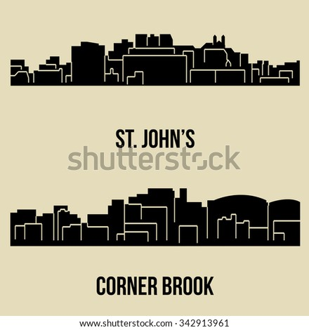 set of 2 city silhouette in