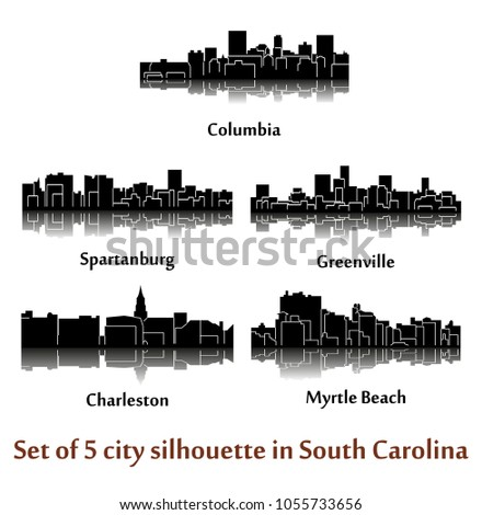 set of 5 city silhouette in