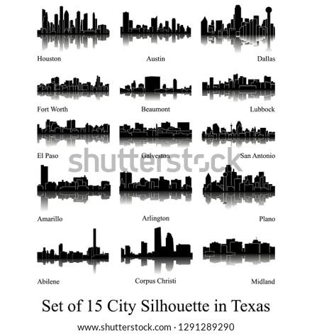 Set of 15 City Silhouette in Texas ( Houston, Austin, Dallas, Fort Worth, Amarillo, Lubbock, El Paso, Arlington, San Antonio, Galveston, Plano, Beaumont, Abilene, Corpus Christi, Midland ) Foto stock ©