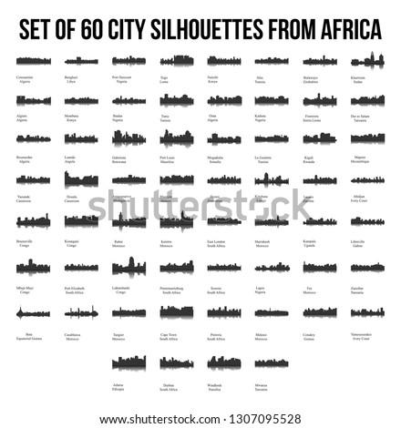 Set of 60 City Silhouettes from Africa ( Fez, Lusaka, East London, Lome, Togo, Kigali, Port Harcourt, Zanzibar, Meknes, Khartoum, Tunis, Marrakech, Morocco, South Africa, Johannesburg )