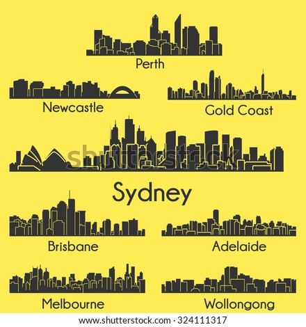 Set of 8 City silhouettes in Australia ( Sydney, Melbourne, Perth, Gold Coast, Wollongong, Brisbane, Newcastle, Adelaide )