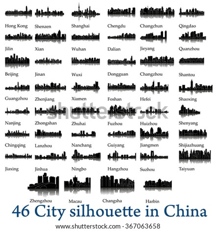 set of 46 city silhouettes in