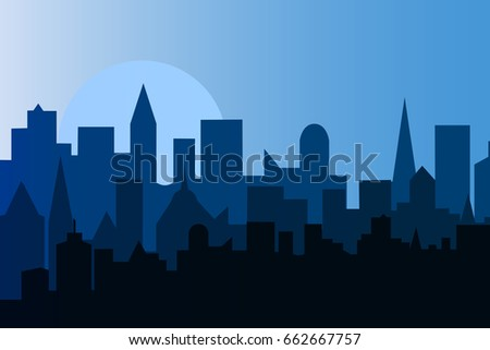 set of cityscape at dawn