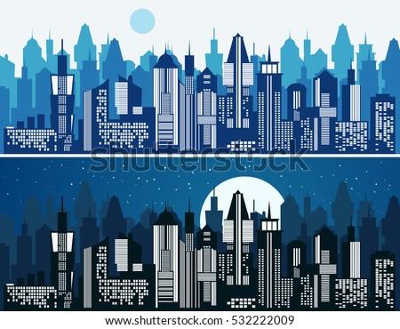 set of cityscape background