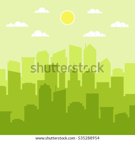 Set of cityscape background. Skyline silhouettes. Modern architecture. Horizontal banner with megapolis panorama. Flat vector illustration.