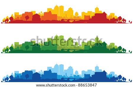 set of cityscape backgrounds