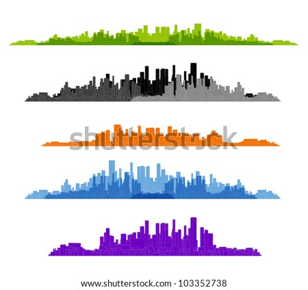 set of cityscape silhouette background
