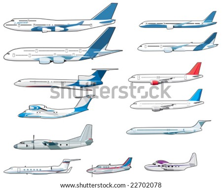 Set of civilian airplanes