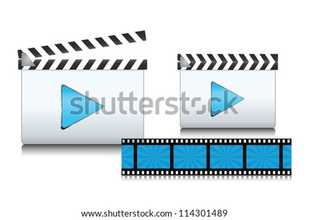 Set of clapboard icons with film. Vector illustration