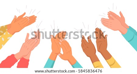 Set of clapping hands isolated multinational various skin color palms. Vector applauding people, appreciation and congratulation, encouragement concept. Crowd applause, bravo by high five, success Сток-фото ©