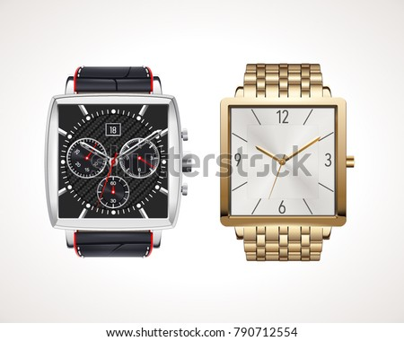 Set of classic and modern mens watches. Vector illustration