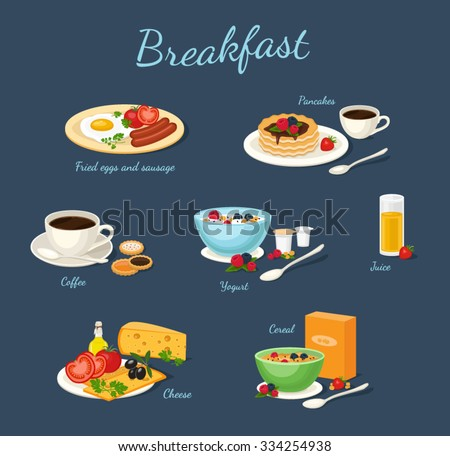 set of classic breakfast with