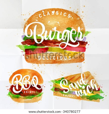Set of classic burger, bbq and sandwich drawing with color paint on crumpled paper.