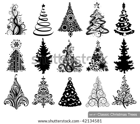 set of classic christmas trees