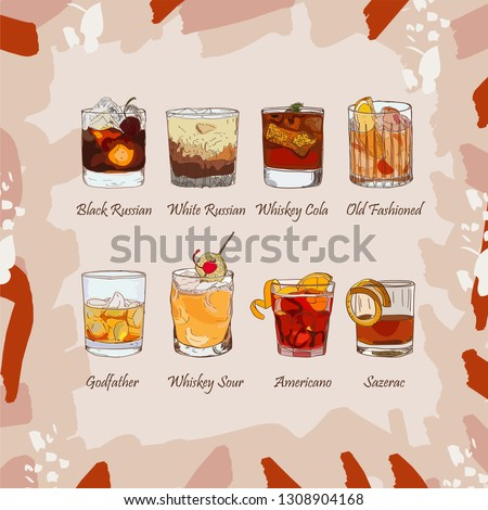 Set of classic cocktails on abstract background. Fresh bar alcoholic drinks menu. Vector sketch illustration collection. Hand drawn.
