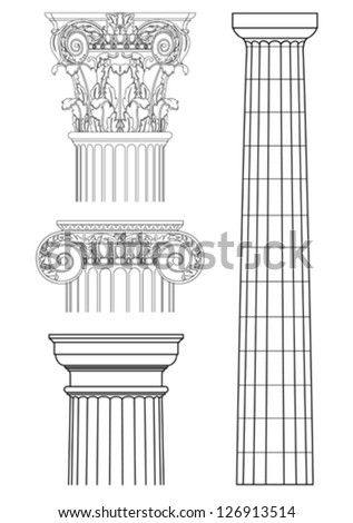 set of classic columns,vector drawing