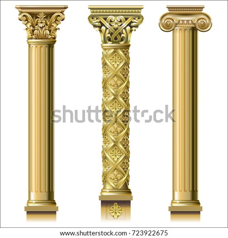 set of classic gold columns in...