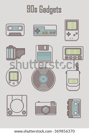 set of classic icon, hipster gadget,old gadget vector.