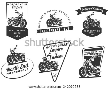 set of classic motorcycle logo