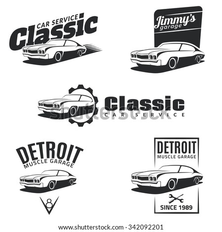 Set of classic muscle car emblems, badges and icons. Service car repair, restoration and club design elements. Isolated muscle car front view. Vector.